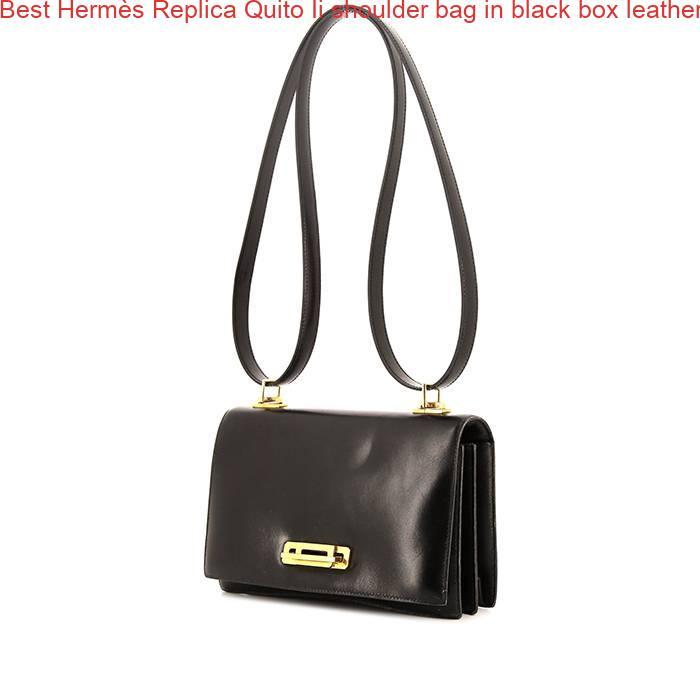 8ecc3282c35 Best Hermès Replica Quito Ii shoulder bag in black box leather ...