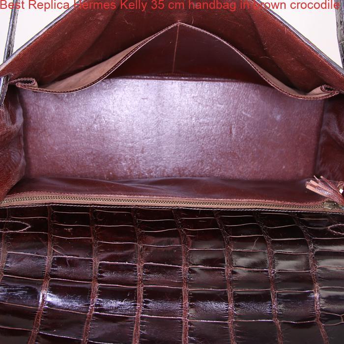 b7194d2ef1f8 Best Replica Hermes Kelly 35 cm handbag in brown crocodile – High ...